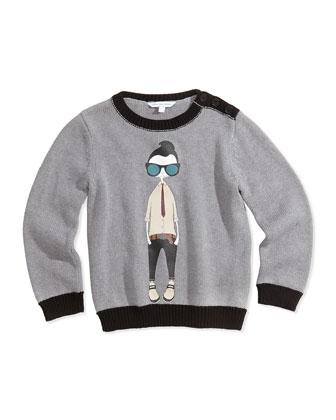 Cool Boy Printed Sweater, Gray