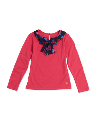 Girls' Bow-Collar Long-Sleeve Tee, Red, Sizes 2-5