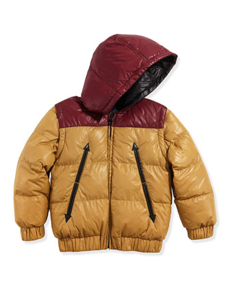 Boys' Reversible Puffer Jacket, Red/Yellow, Sizes 6-10