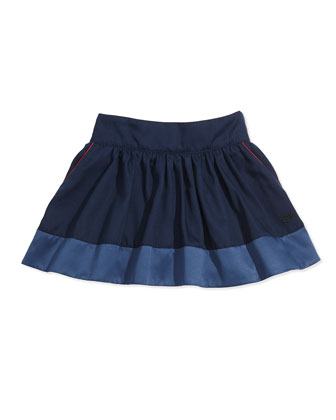 Twill Skirt with Piping, Sizes 2-5