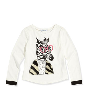 Girls' Zebra Printed Long-Sleeve Tee, White, Sizes 6-10