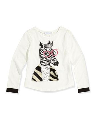 Girls' Zebra Printed Long-Sleeve Tee, White, Sizes 6-10