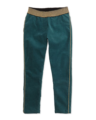 Girls' Corduroy Pants, Dark Green, Sizes 6-10