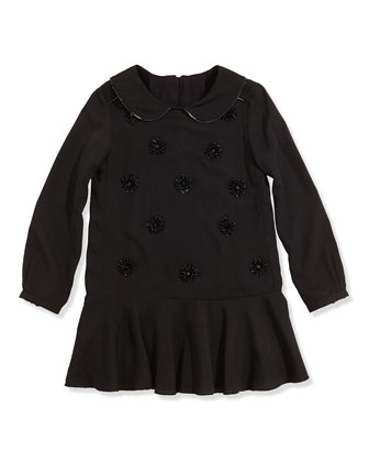 Girls' Embellished Crepe Dress, Black, 2-5