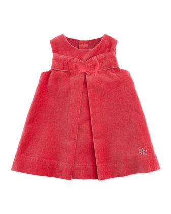 Velour Dress with Bow, Ruffle-Collar Knit Playsuit & Embroidered Knit Cardigan