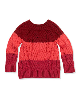 Chunky Colorblock Sweater, Pink, Girls' 6-12