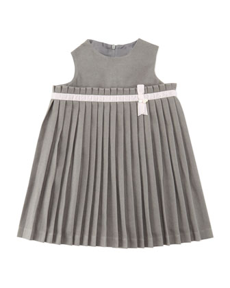 Girls' Pleated Knit Dress, Gray 3M-2Y
