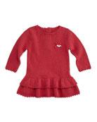 Girls' Ruffle Knit Dress, Pink, 3M-2T