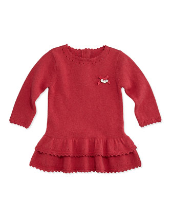 Girls' Ruffle Knit Dress, Pink, 3M-2T