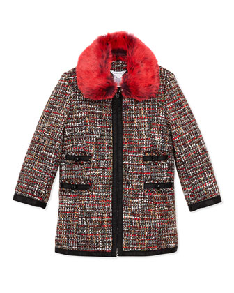 Girls' Tweed Coat with Faux-Fur Collar, Sizes 4-5