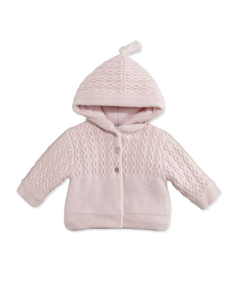 Hooded Cable-Knit Jacket, Pink, 3M-6M