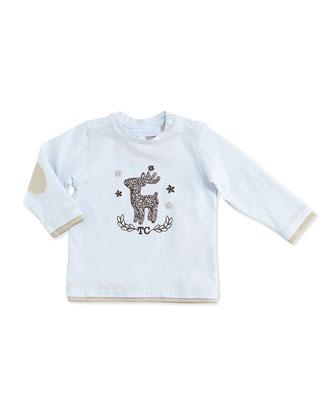 Reindeer-Print Long-Sleeve Tee, Blue, 3-24 Months