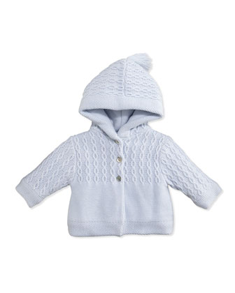 Hooded Cable-Knit Jacket, Blue, 3M-6M