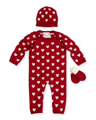 Heart-Print Coverall, Hats & Mittens, Deep Red, 3-12 Months