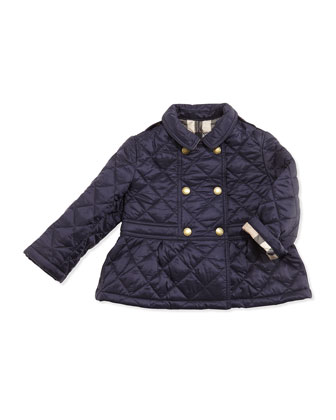Quilted Peplum Jacket, Navy, Size 6M-3Y