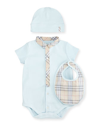 Playsuit, Baby Hat & Bib, Porcelain Blue, Size 1-18 Months