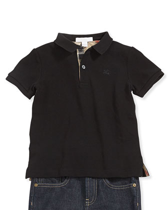 Check-Trim Pique Polo, Black