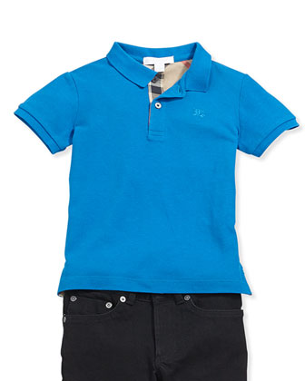 Check-Trim Pique Polo, Cerulean Blue