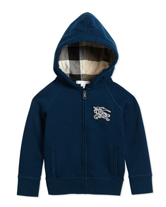 Boys' Hooded Sweater, Deep Teal, 4Y-14Y