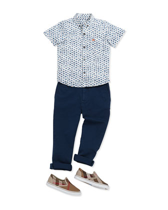 Boys' Printed Short-Sleeve Shirt, Marine Blue