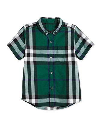Fred Short-Sleeve Check Shirt, Dark Pigment Green, Size 4Y-14Y
