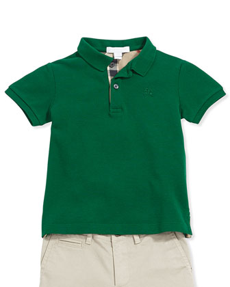 Check-Trim Pique Polo, Dark Green