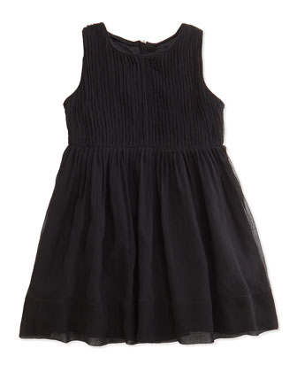 Sleeveless Pleated Silk-Crepon Dress, Black, 4Y-14Y