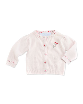 Embroidered Knit Cardigan, Light Pink, Sizes 3-4