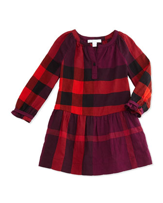 Check Drop-Waist Dress, Deep Fuchsia, 4Y-14Y