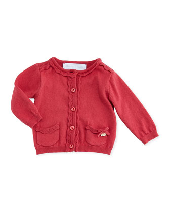 Ruffle-Trim Cardigan, Old Pink, Sizes 3-4