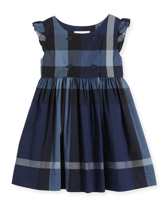 Cotton Poplin Dress, Dark Blue, Size 4Y-14Y