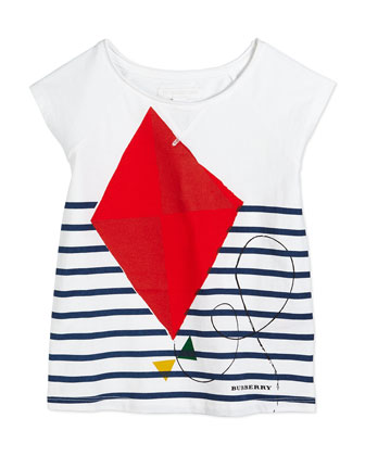Tresa Kite-Print Cap-Sleeve Tee, White, Size 4Y-14Y