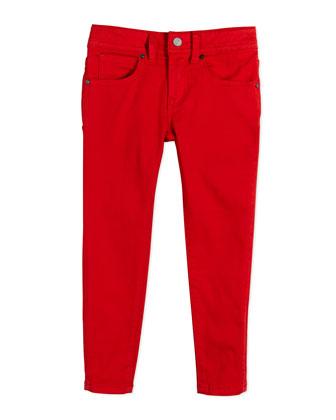 Skinny Stretch Denim Pants, Military Red, Size 4Y-14Y