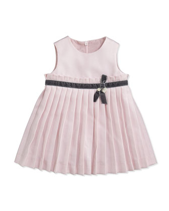 Girls' Ruffled Twill Dress, Light Pink, Sizes 3-4
