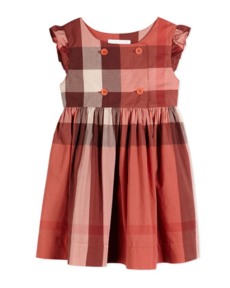 Cotton Poplin Dress, Coral Pink, Size 4Y-14Y