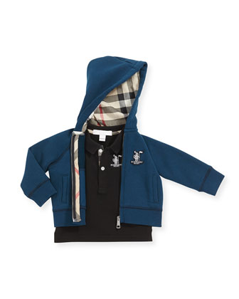 Equestrian Knit Fleece Hoodie, Deep Teal Blue, 3M-3Y