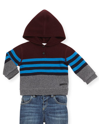 Boys' Striped Wool-Cashmere Hooded Sweater, 12M-3Y