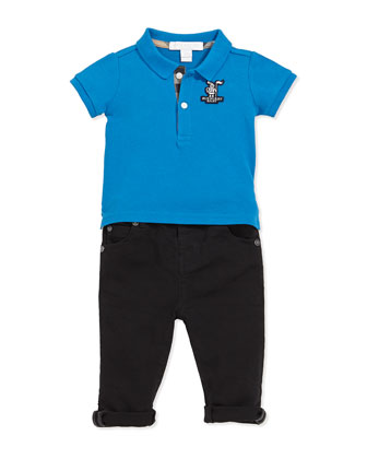 Check-Trim Polo, Cerulean Blue, 3M-3Y