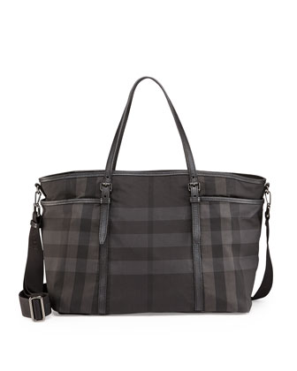 Graceford Tonal Check Diaper Bag, Black