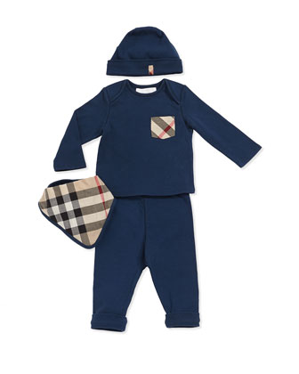 Check-Pocket Tee, Pants, Hat & Check Bib Set, Blue