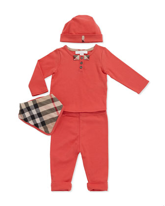 Check-Bow Henley Tee, Pants, Hat & Check Bib Set, Pomegranate Pink