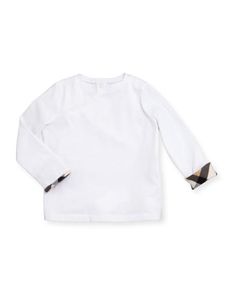 Check-Cuff Long-Sleeve Tee, White