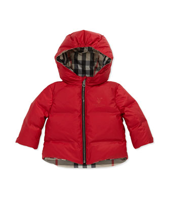 Reversible Check Puffer Jacket, Military Red