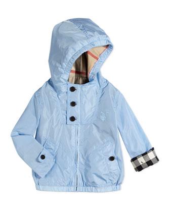 Lightweight Hooded Nylon Jacket, Sky Blue, 6M-3Y
