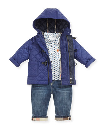 Quilted Nylon Toggle Coat, Sapphire Blue