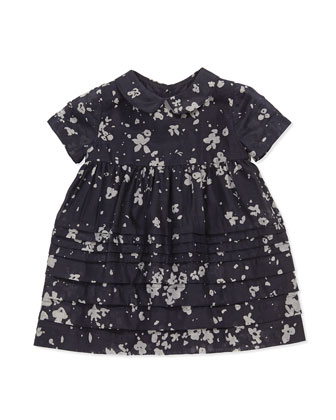 Floral-Print Cotton/Silk Dress, Dark Indigo