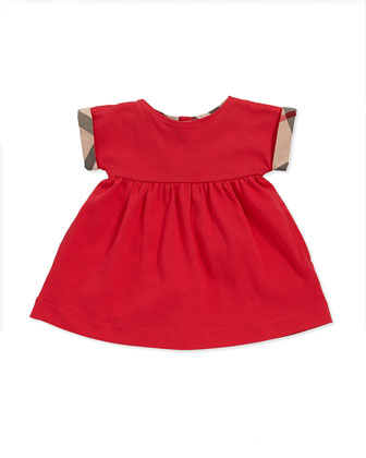 Check-Cuff Pique Dress, Pomegranate Pink