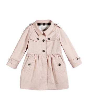 Melody Trench Jacket, Pale Blossom, Sizes 6M-3Y