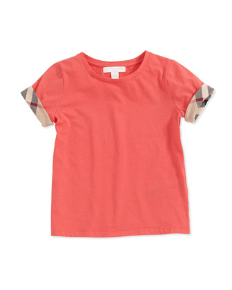 Check-Cuff Short-Sleeve Tee, Pomegranate Pink