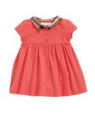 Check-Collar Cotton Dress, Pomegranate Pink